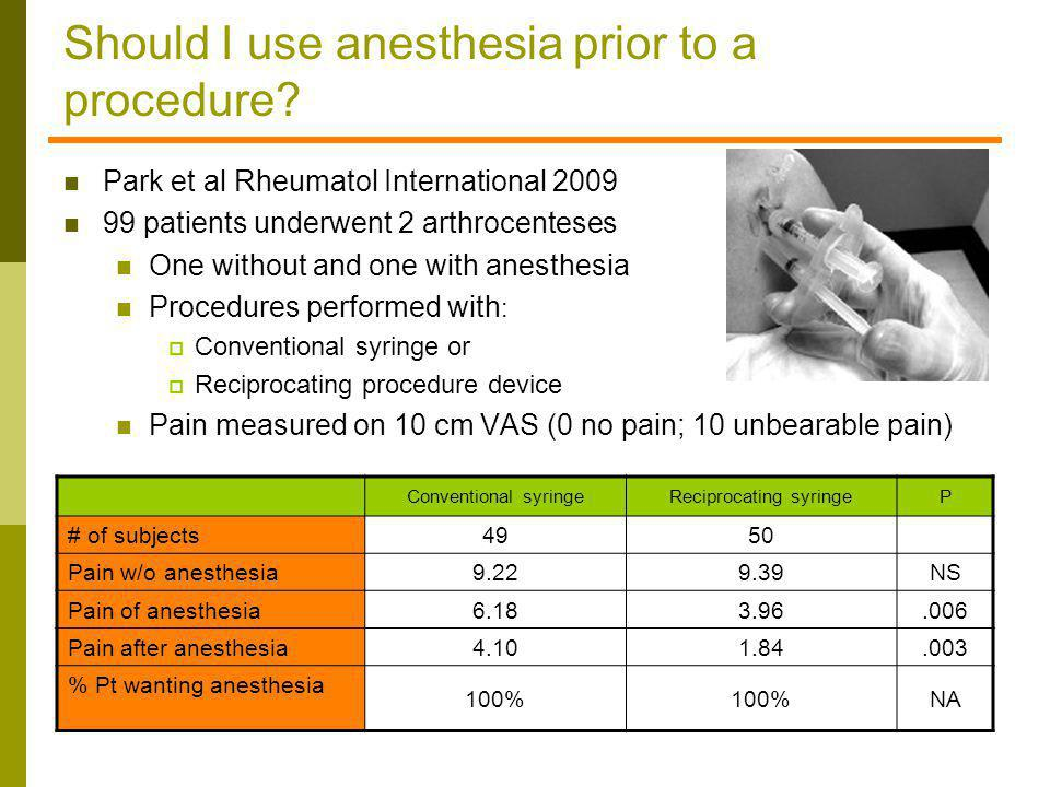 Should I use anesthesia prior to a procedure? Park et al Rheumatol International 2009 99 patients underwent 2 arthrocenteses One without and one with