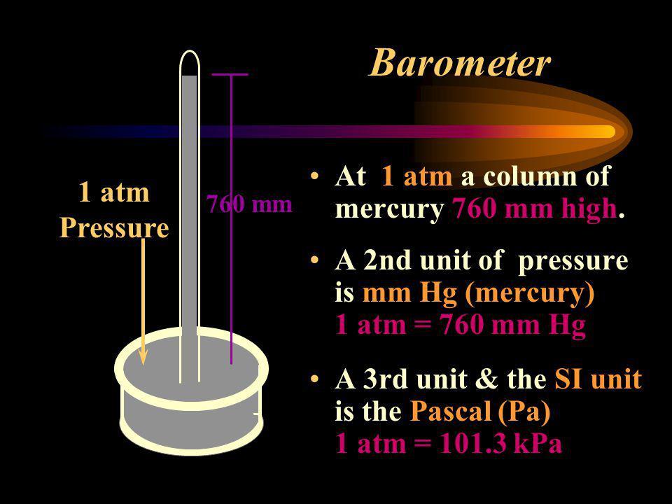 Barometer At 1 atm (one atmospheric pressure) a column of mercury 760 mm high. Dish of Mercury Column of Mercury 1 atm Pressure
