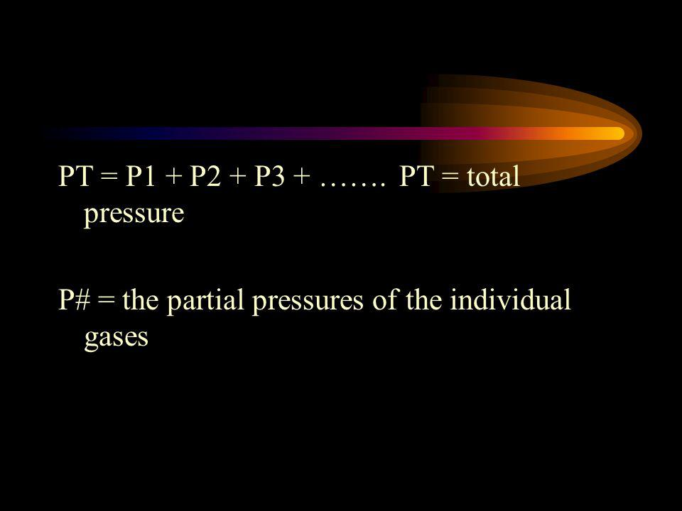 The pressure of each gas in a mixture is called the partial pressure of that gas. Daltons Law of Partial Pressure states that the total pressure of a
