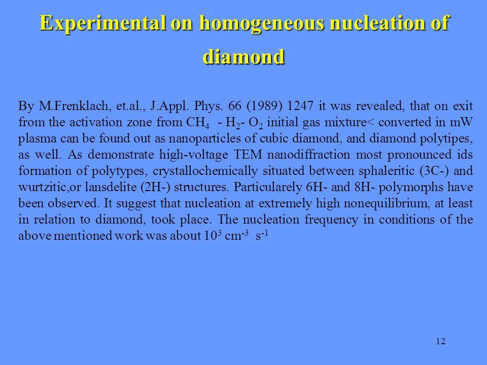 12 Experimental on homogeneous nucleation of diamond By M.Frenklach, et.al., J.Appl.
