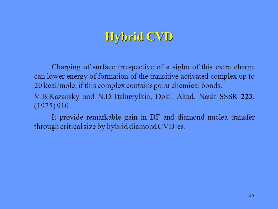 25 Hybrid CVD Charging of surface irrespective of a sighn of this extra charge can lower energy of formation of the transitive activated complex up to 20 kcal/mole, if this complex contains polar chemical bonds.