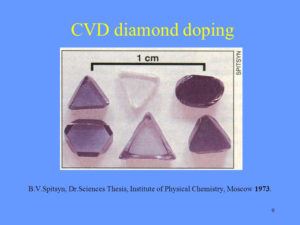9 CVD diamond doping B.V.Spitsyn, Dr.Sciences Thesis, Institute of Physical Chemistry, Moscow 1973.