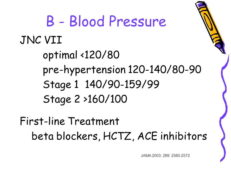 B - Blood Pressure JAMA 2003; 289: 2560-2572 JNC VII optimal <120/80 pre-hypertension 120-140/80-90 Stage 1 140/90-159/99 Stage 2 >160/100 First-line