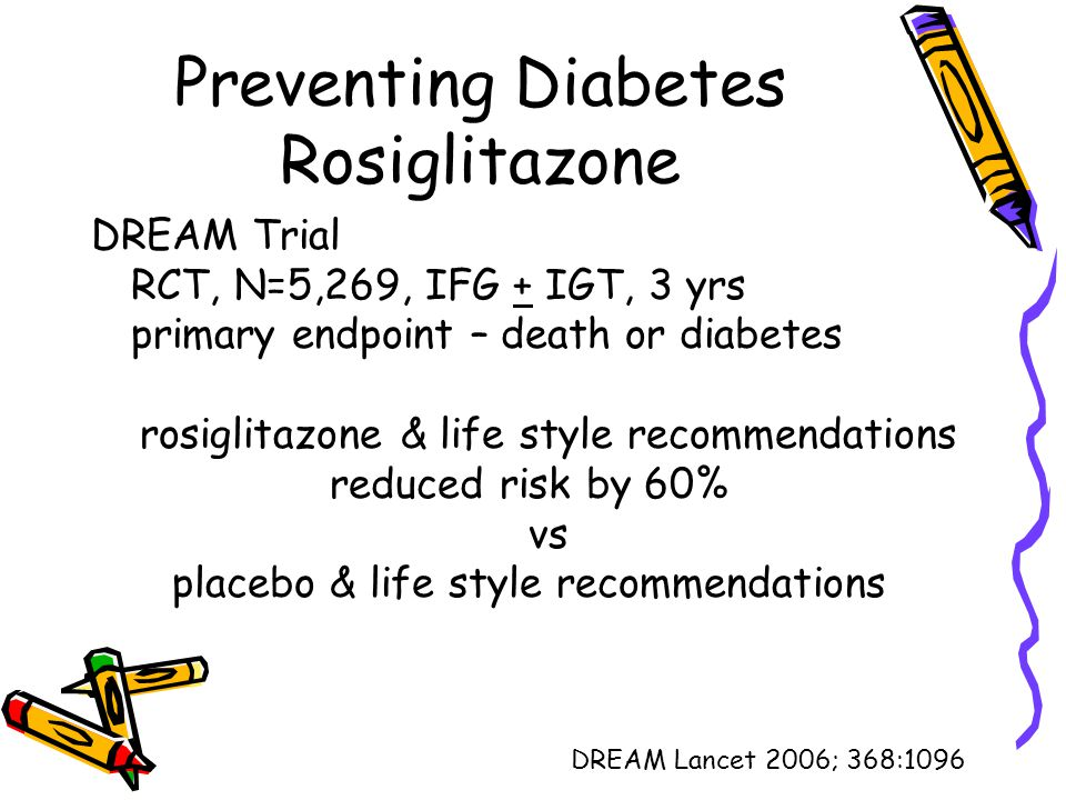 Preventing Diabetes Rosiglitazone DREAM Trial RCT, N=5,269, IFG + IGT, 3 yrs primary endpoint – death or diabetes rosiglitazone & life style recommend