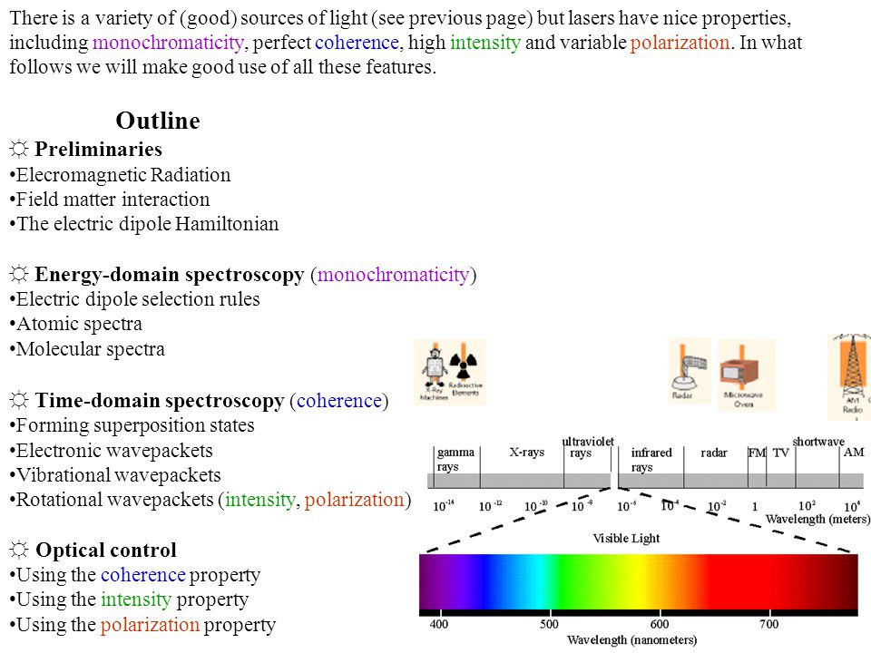 There is a variety of (good) sources of light (see previous page) but lasers have nice properties, including monochromaticity, perfect coherence, high