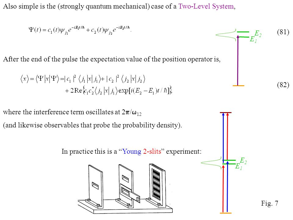 Also simple is the (strongly quantum mechanical) case of a Two-Level System, After the end of the pulse the expectation value of the position operator is, where the interference term oscillates at 2  /  12 (and likewise observables that probe the probability density).