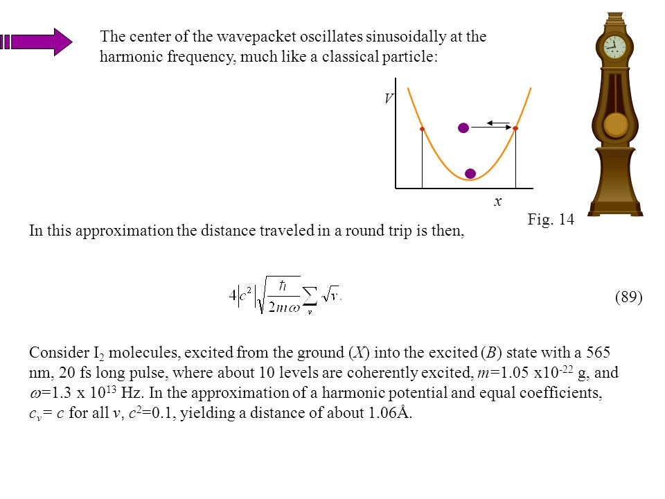 In this approximation the distance traveled in a round trip is then, The center of the wavepacket oscillates sinusoidally at the harmonic frequency, m
