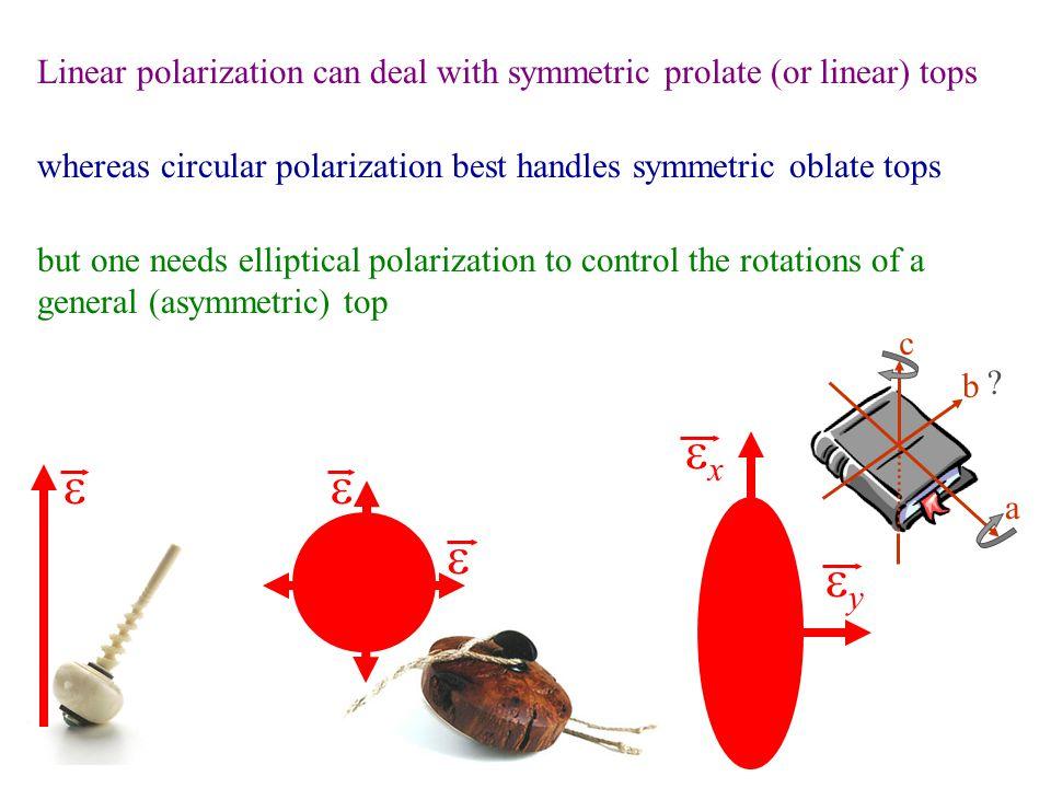    xx yy a b c ? Linear polarization can deal with symmetric prolate (or linear) tops whereas circular polarization best handles symmetric obla