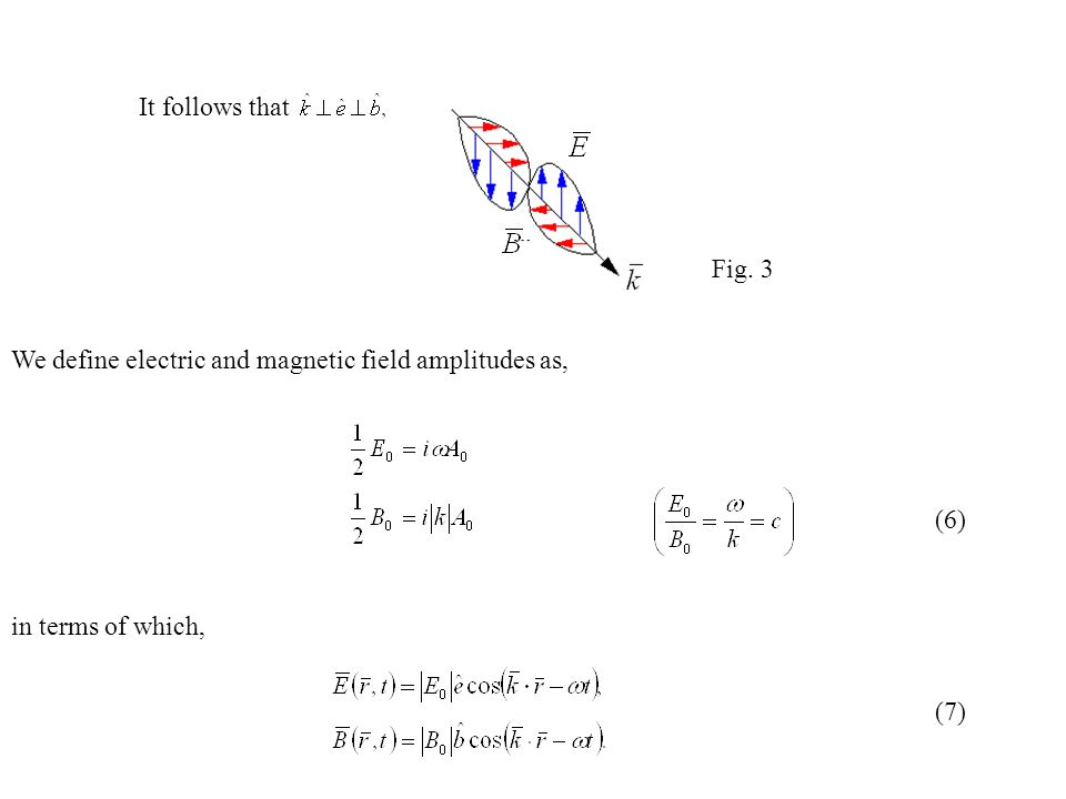 It follows that We define electric and magnetic field amplitudes as, in terms of which, Fig. 3 (6) (7)