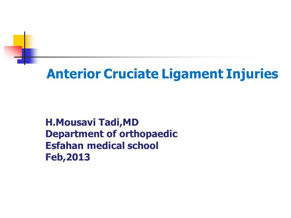 H.Mousavi Tadi,MD Department of orthopaedic Esfahan medical school Feb,2013 Anterior Cruciate Ligament Injuries