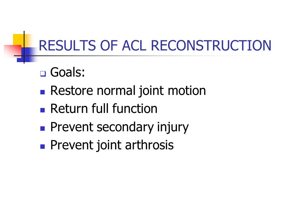 RESULTS OF ACL RECONSTRUCTION  Goals: Restore normal joint motion Return full function Prevent secondary injury Prevent joint arthrosis