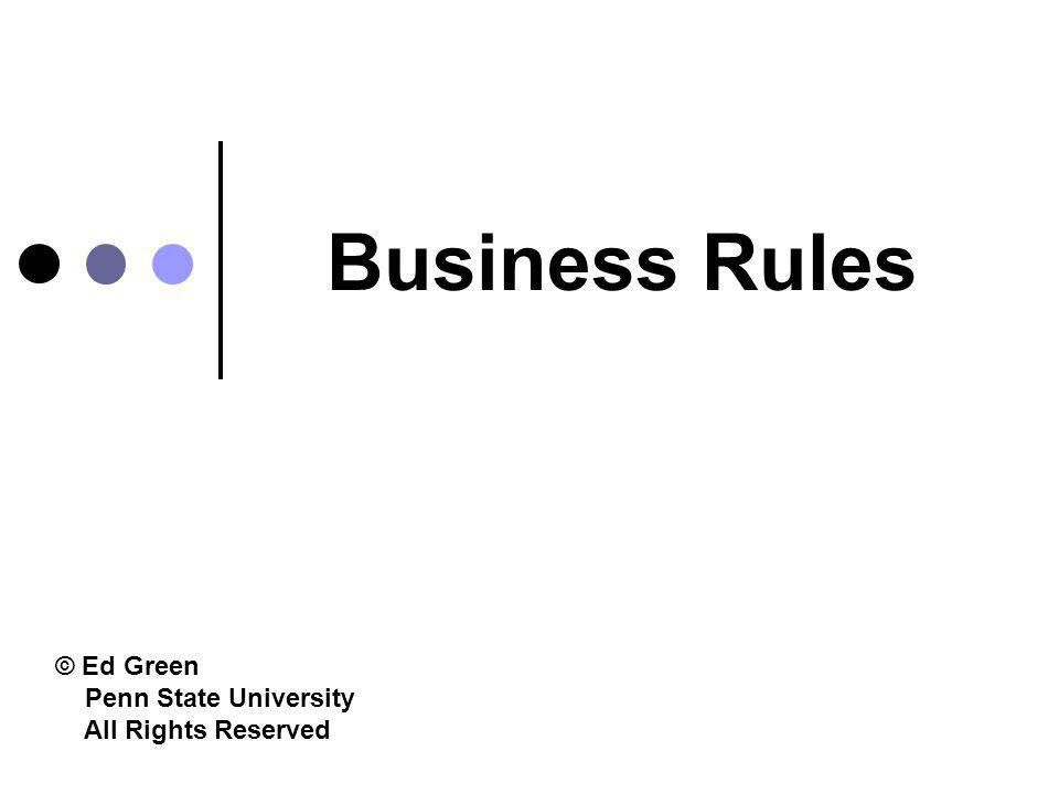 1/15/2015Business Rules62 Processing Business Rules in User-Level Language Business Rules in.doc or.txt 1.Identifies lexical elements 2.Validates lexical elements 3.Formats result Business Rules in.dat PARSER EXTRACTION PROGRAM DBMS RULE BASE Business rules in user level language are stored here Business rules in user level language are converted to a computer-processable format