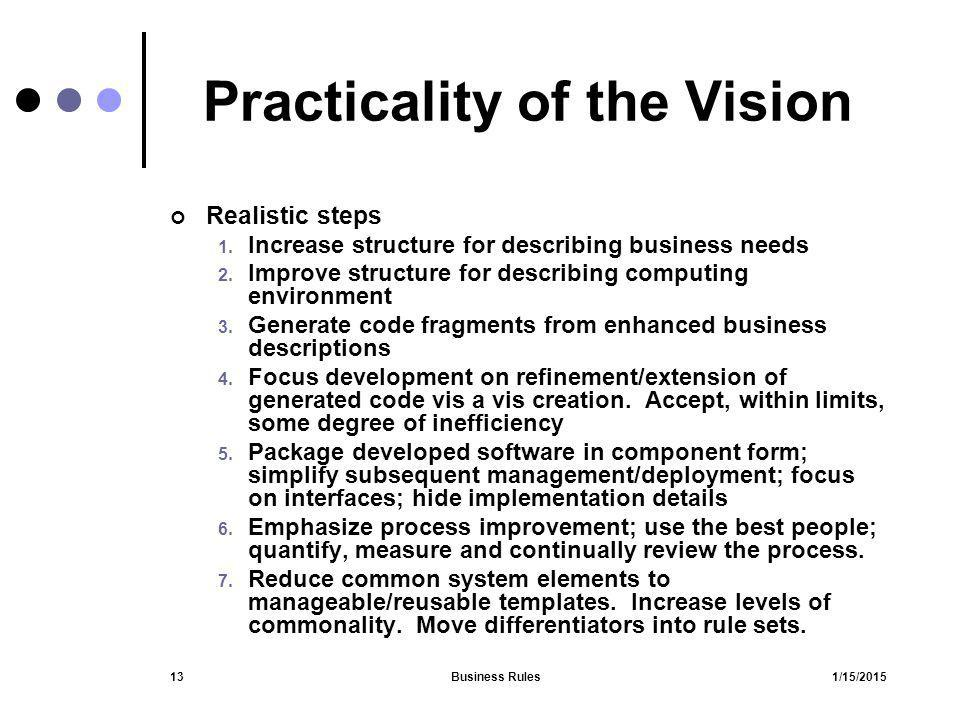 1/15/2015Business Rules13 Practicality of the Vision Realistic steps 1. Increase structure for describing business needs 2. Improve structure for desc