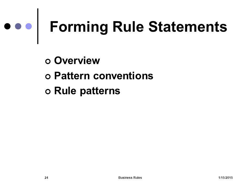 1/15/2015Business Rules24 Forming Rule Statements Overview Pattern conventions Rule patterns