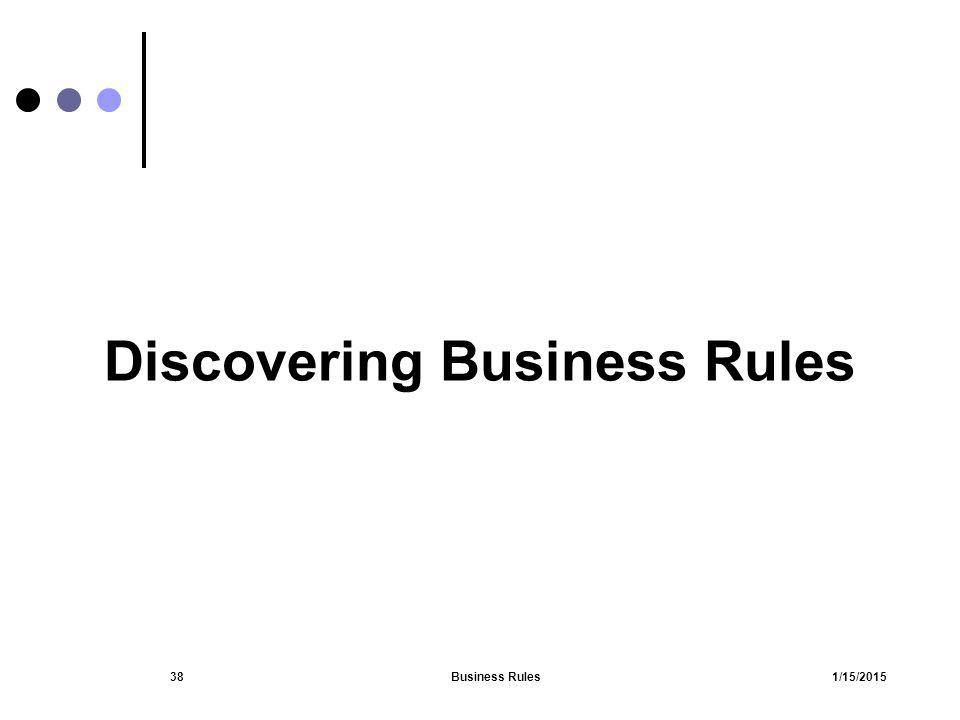 1/15/2015Business Rules38 Discovering Business Rules