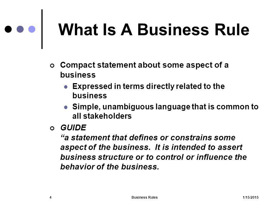 1/15/2015Business Rules5 Definition/Explanation of Business Rules Set of statements Describe/define how a business operates Governance Rules of the road Influences Business process(es) Culture give and take Social Organizational Legal constraints and obligations Market activities and actions