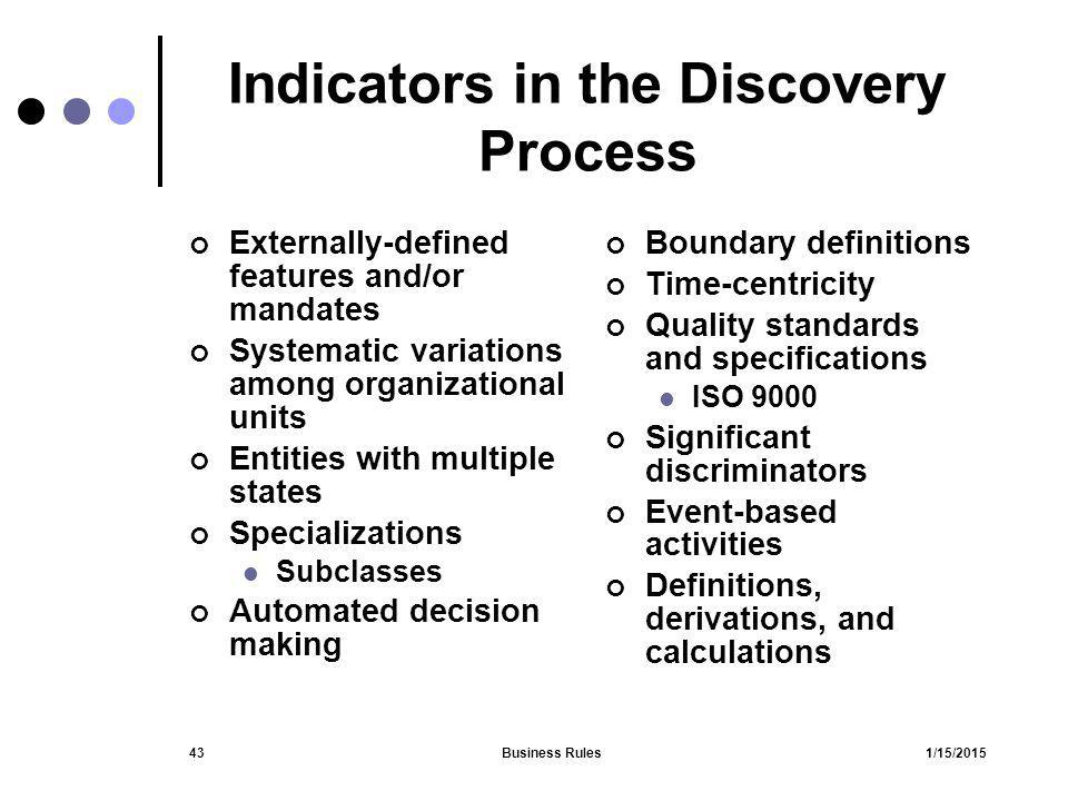 1/15/2015Business Rules43 Indicators in the Discovery Process Externally-defined features and/or mandates Systematic variations among organizational u
