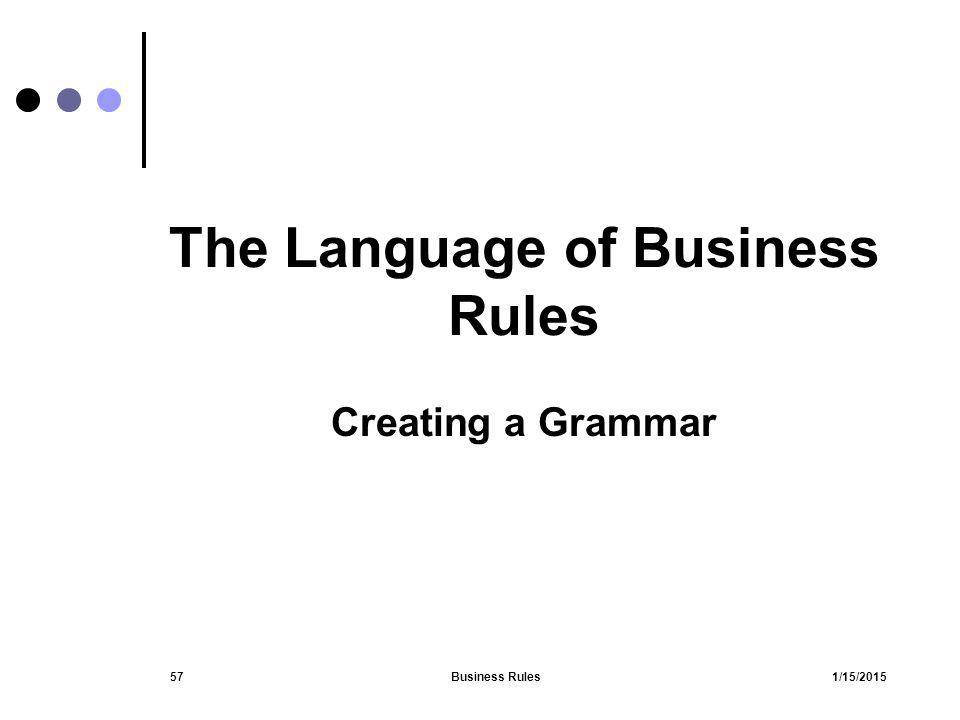 1/15/2015Business Rules57 The Language of Business Rules Creating a Grammar