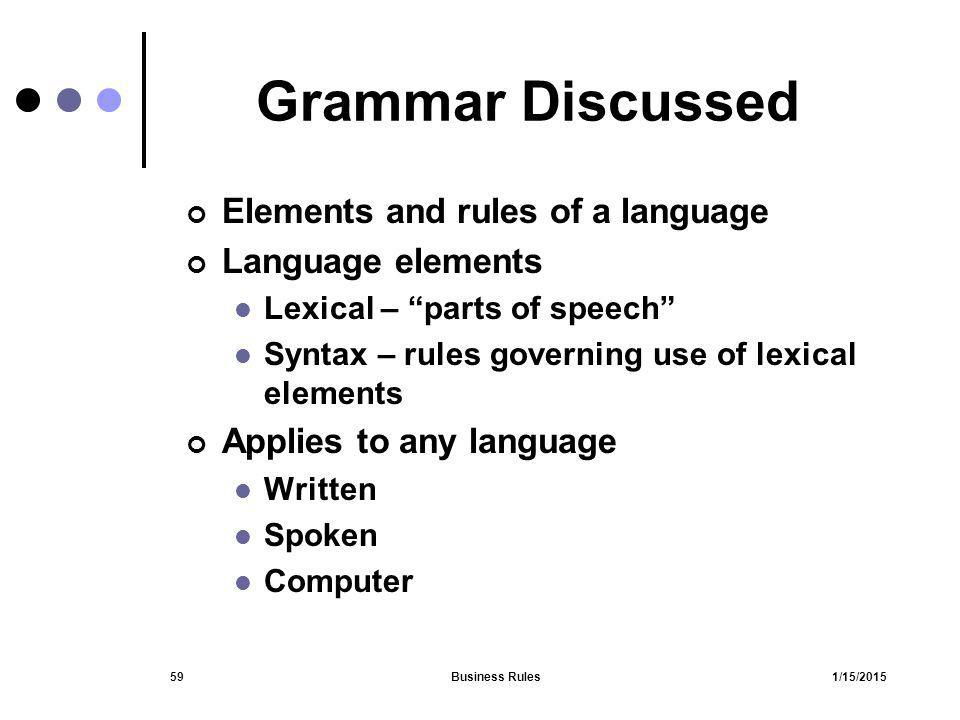 "1/15/2015Business Rules59 Grammar Discussed Elements and rules of a language Language elements Lexical – ""parts of speech"" Syntax – rules governing us"