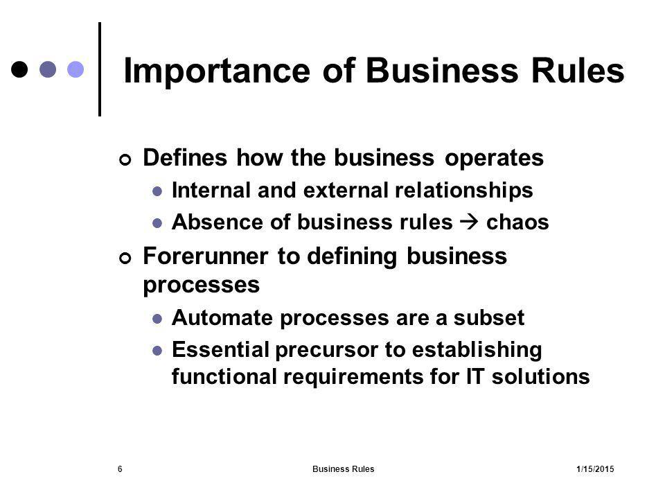 1/15/2015Business Rules6 Importance of Business Rules Defines how the business operates Internal and external relationships Absence of business rules