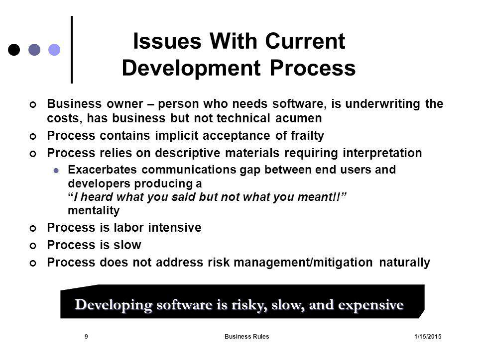 1/15/2015Business Rules50 Static Analysis Types of source documents Internal External Analyzing documents 1.