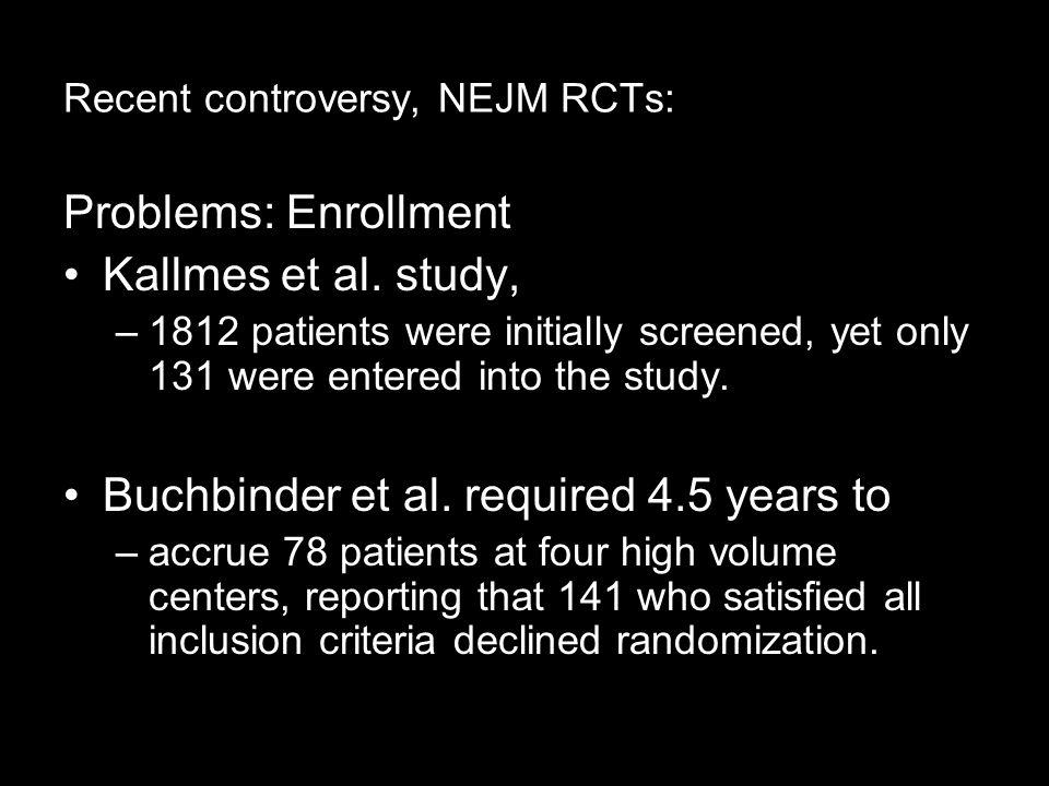 Recent controversy, NEJM RCTs: Problems: Enrollment Kallmes et al.