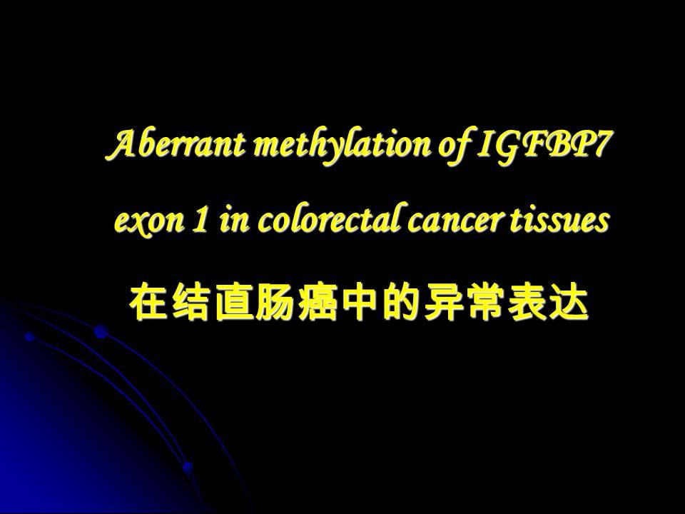 Aberrant methylation of IGFBP7 exon 1 in colorectal cancer tissues 在结直肠癌中的异常表达