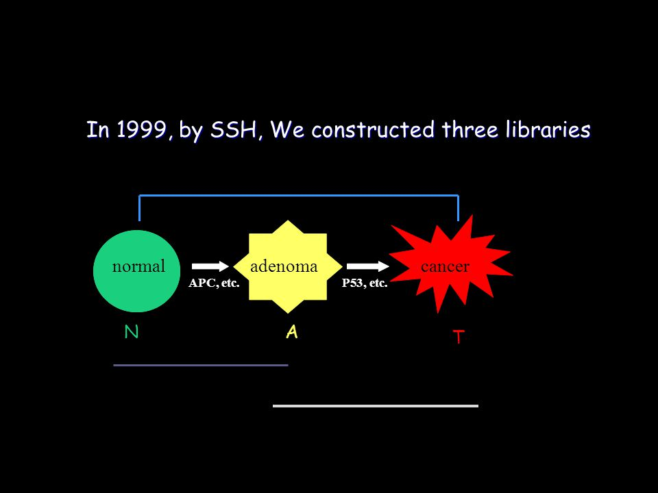 In 1999, by SSH, We constructed three libraries normal adenomacancer APC, etc.P53, etc. T NA