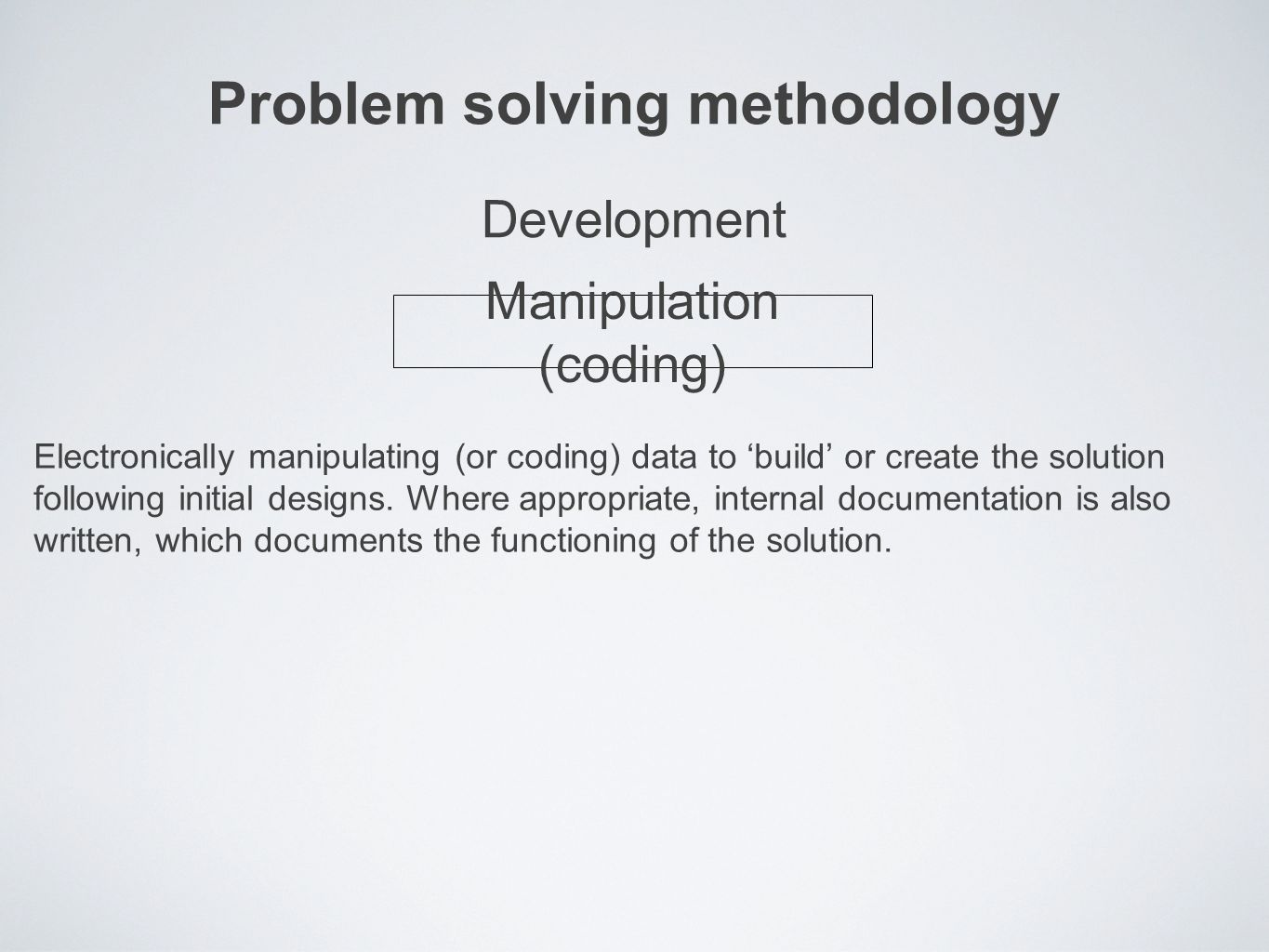 Problem solving methodology Electronically manipulating (or coding) data to 'build' or create the solution following initial designs.