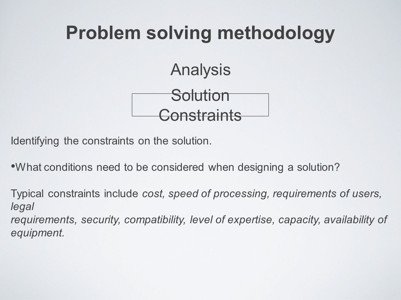Problem solving methodology Identifying the constraints on the solution.