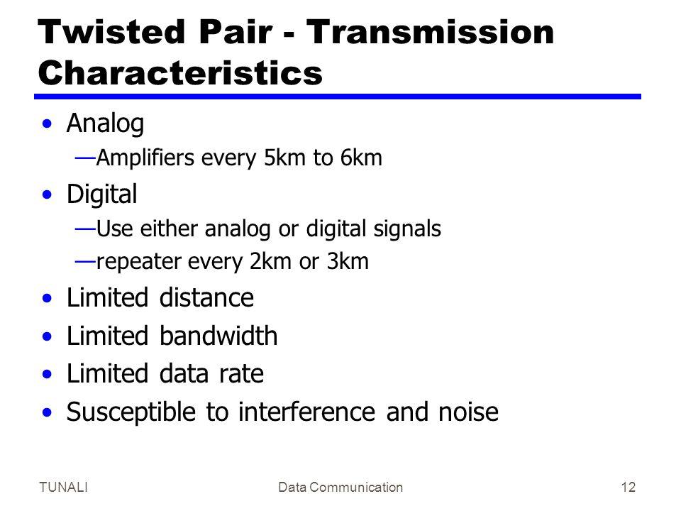 TUNALIData Communication12 Twisted Pair - Transmission Characteristics Analog —Amplifiers every 5km to 6km Digital —Use either analog or digital signa