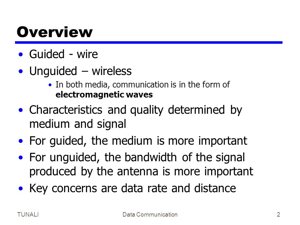 TUNALIData Communication3 Design Factors Bandwidth —Higher bandwidth gives higher data rate Transmission impairments —Attenuation —Twisted pair suffers more impairment than coaxcial cable and optical fibre Interference Number of receivers —In guided media —More receivers (multi-point) introduce more attenuation