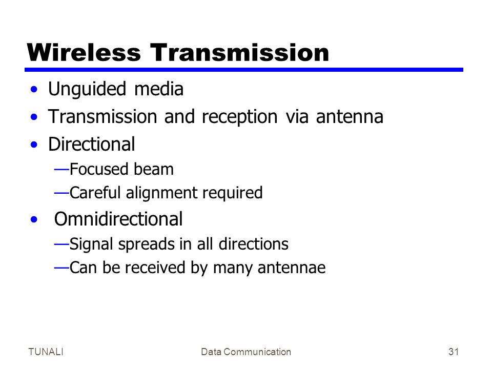 TUNALIData Communication31 Wireless Transmission Unguided media Transmission and reception via antenna Directional —Focused beam —Careful alignment re