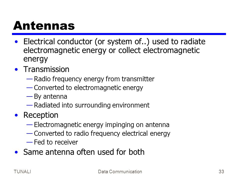 TUNALIData Communication33 Antennas Electrical conductor (or system of..) used to radiate electromagnetic energy or collect electromagnetic energy Tra