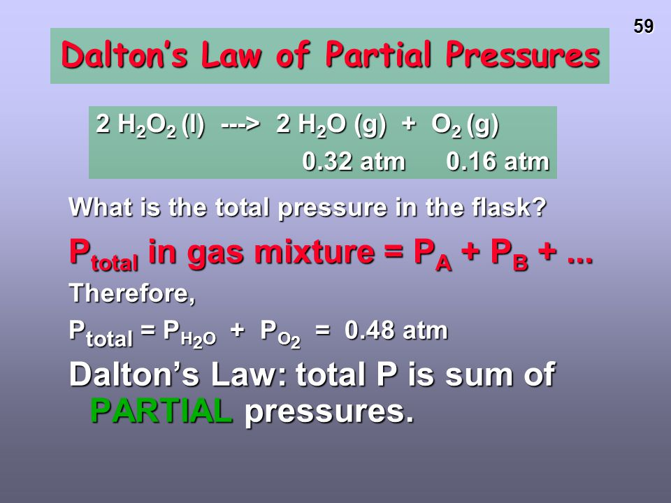 58 Gases in the Air The % of gases in air Partial pressure (STP) 78.08% N 2 593.4 mm Hg 20.95% O 2 159.2 mm Hg 0.94% Ar 7.1 mm Hg 0.03% CO 2 0.2 mm Hg
