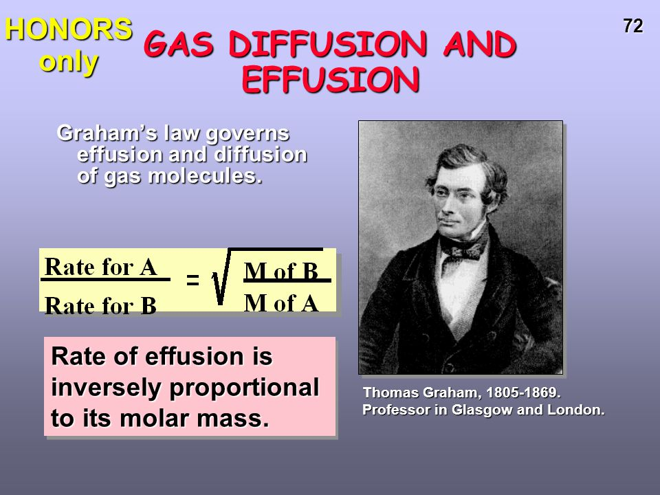 71 GAS DIFFUSION AND EFFUSION diffusion is the gradual mixing of molecules of different gases.diffusion is the gradual mixing of molecules of differen