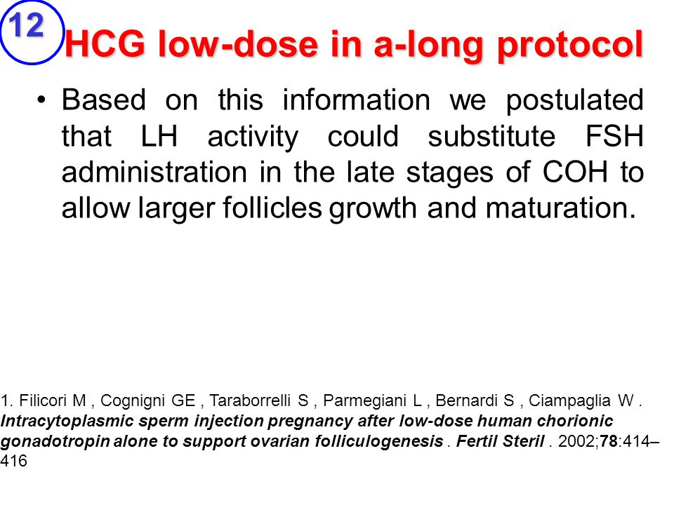 HCG low-dose in a-long protocol Based on this information we postulated that LH activity could substitute FSH administration in the late stages of COH