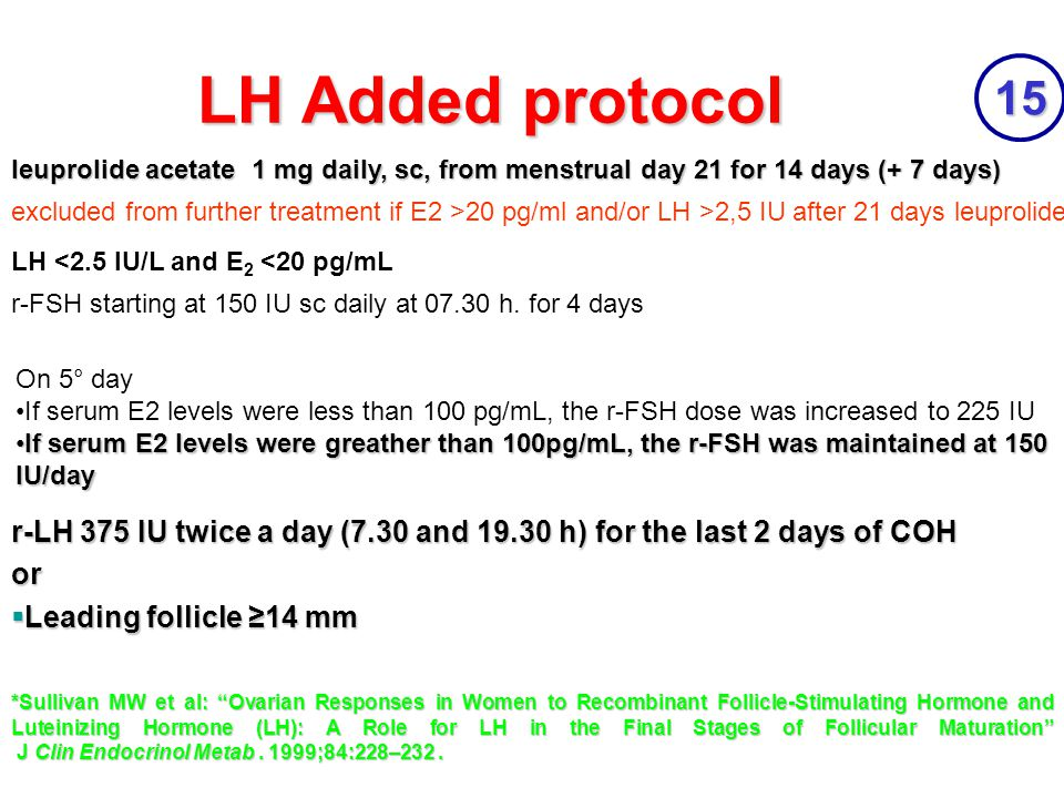 "LH Added protocol 15 r-LH 375 IU twice a day (7.30 and 19.30 h) for the last 2 days of COH or  Leading follicle ≥14 mm *Sullivan MW et al: ""Ovarian R"