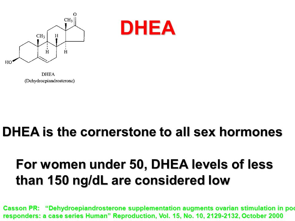 "DHEA For women under 50, DHEA levels of less than 150 ng/dL are considered low DHEA is the cornerstone to all sex hormones Casson PR: ""Dehydroepiandro"