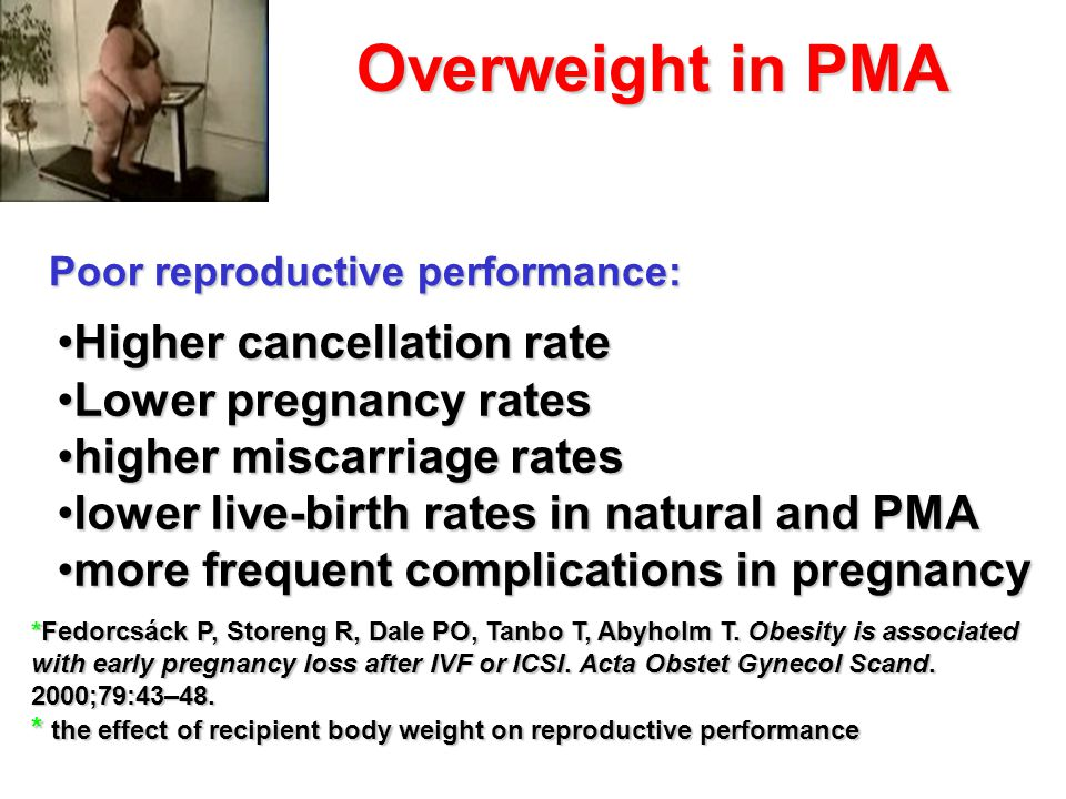 Overweight in PMA *Fedorcsáck P, Storeng R, Dale PO, Tanbo T, Abyholm T. Obesity is associated with early pregnancy loss after IVF or ICSI. Acta Obste