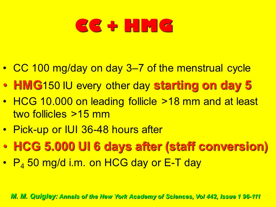 CC + HMG CC 100 mg/day on day 3–7 of the menstrual cycle HMGstarting on day 5HMG 150 IU every other day starting on day 5 HCG 10.000 on leading follic