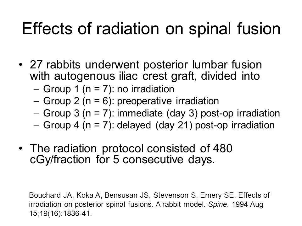 Effects of radiation on spinal fusion 27 rabbits underwent posterior lumbar fusion with autogenous iliac crest graft, divided into –Group 1 (n = 7): no irradiation –Group 2 (n = 6): preoperative irradiation –Group 3 (n = 7): immediate (day 3) post-op irradiation –Group 4 (n = 7): delayed (day 21) post-op irradiation The radiation protocol consisted of 480 cGy/fraction for 5 consecutive days.
