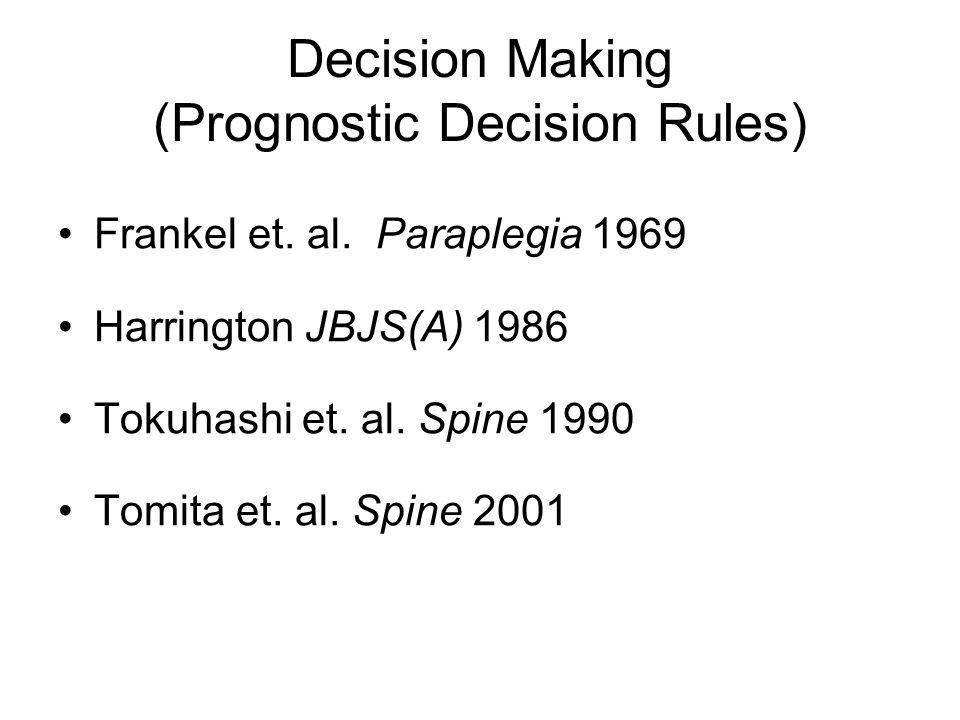 Frankel et. al. Paraplegia 1969 Harrington JBJS(A) 1986 Tokuhashi et.