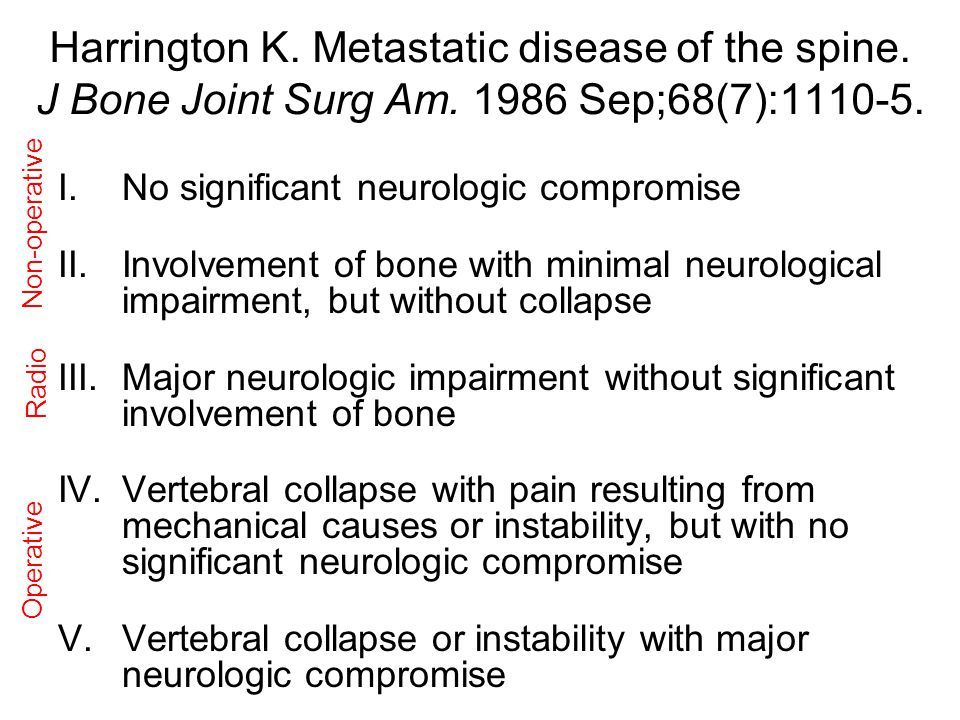 Harrington K.Metastatic disease of the spine. J Bone Joint Surg Am.