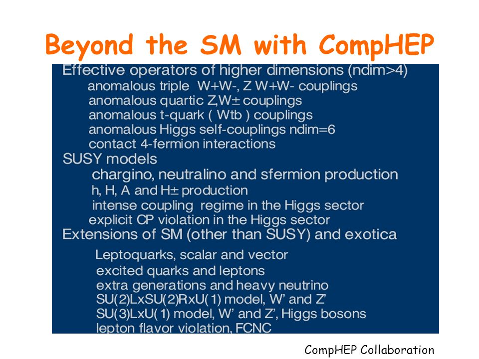 Beyond the SM with CompHEP the list of topics based on ~ 1000 theory papers quoting CompHEP CompHEP Collaboration