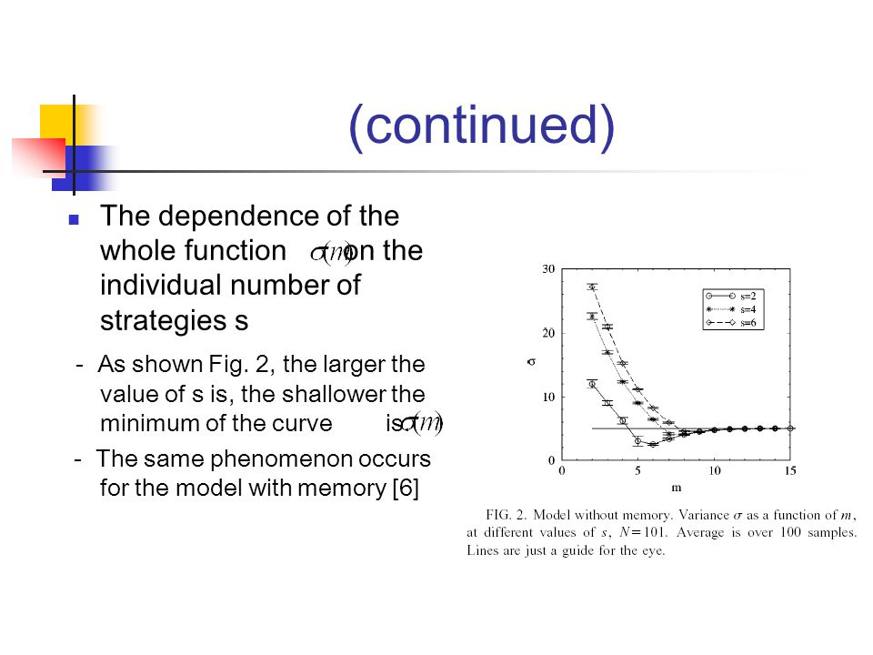 (continued) The dependence of the whole function on the individual number of strategies s - As shown Fig.