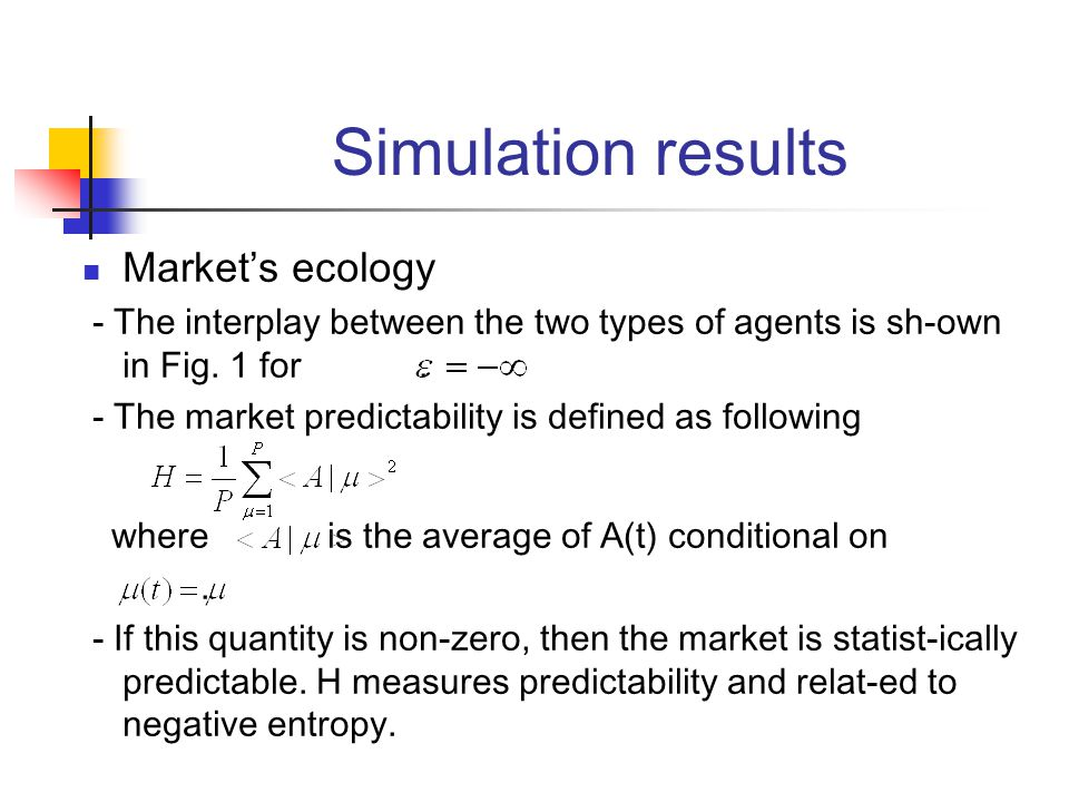 Simulation results Market's ecology - The interplay between the two types of agents is sh-own in Fig.