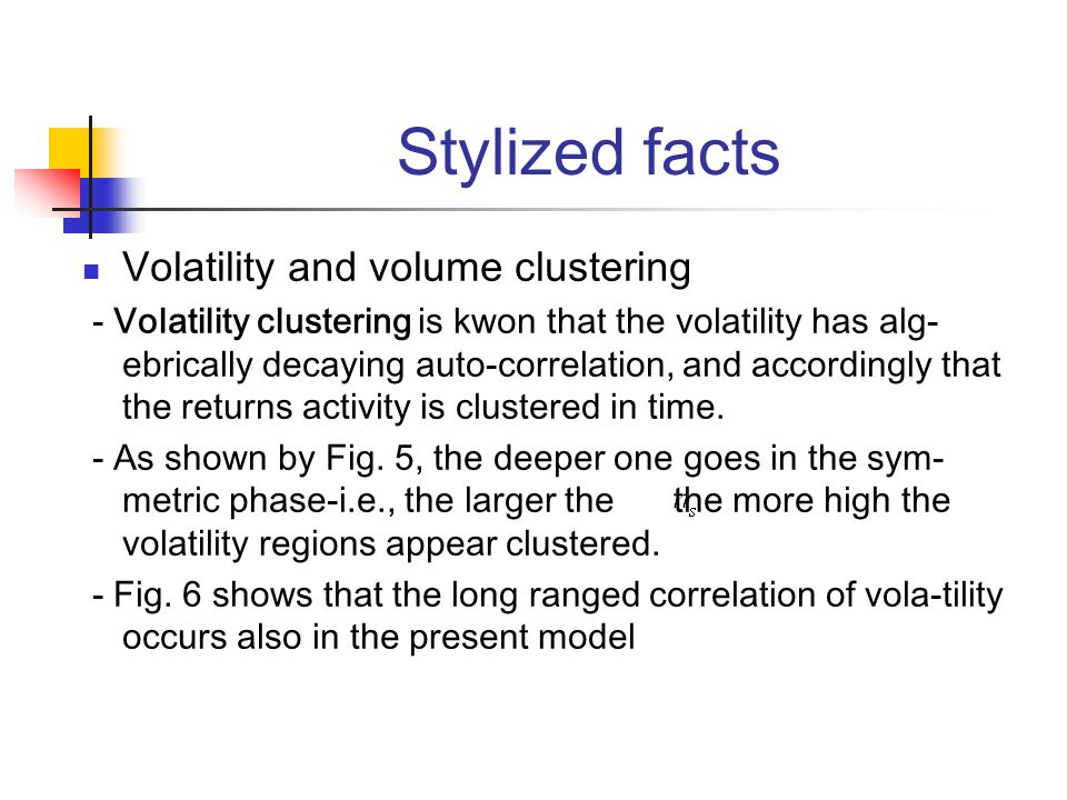 Stylized facts Volatility and volume clustering - Volatility clustering is kwon that the volatility has alg- ebrically decaying auto-correlation, and accordingly that the returns activity is clustered in time.