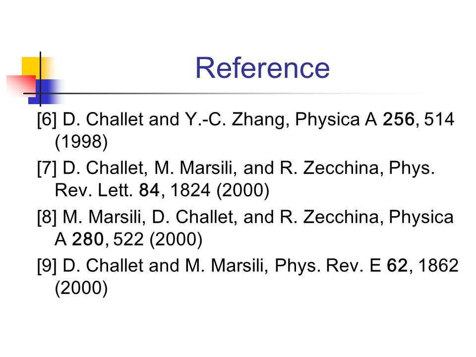 Reference [6] D. Challet and Y.-C. Zhang, Physica A 256, 514 (1998) [7] D.