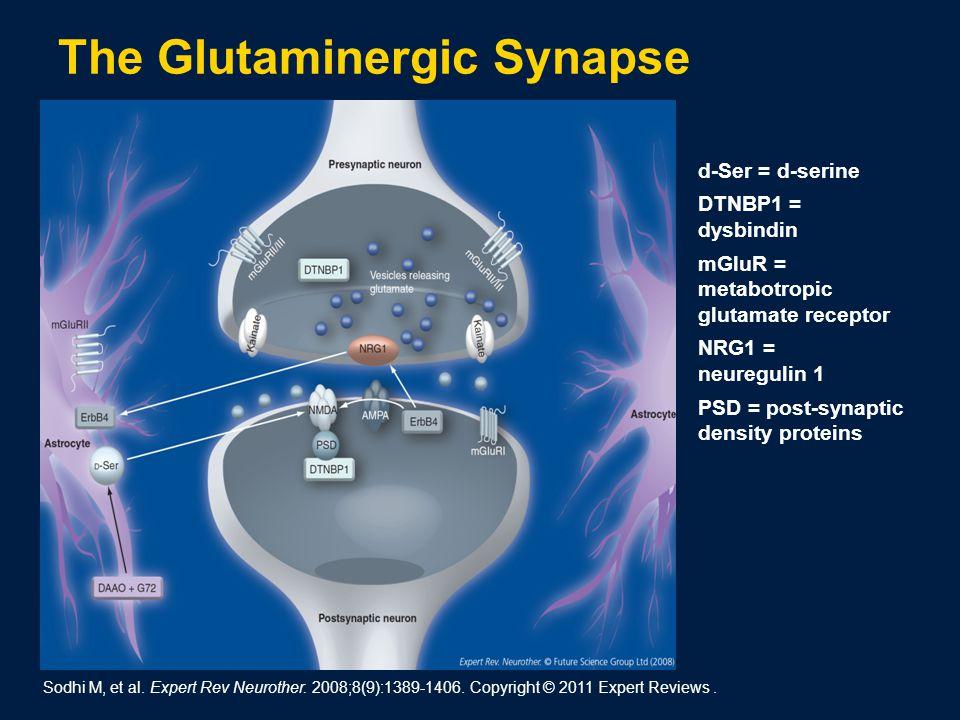 d ‑ Ser = d-serine DTNBP1 = dysbindin mGluR = metabotropic glutamate receptor NRG1 = neuregulin 1 PSD = post-synaptic density proteins Sodhi M, et al.